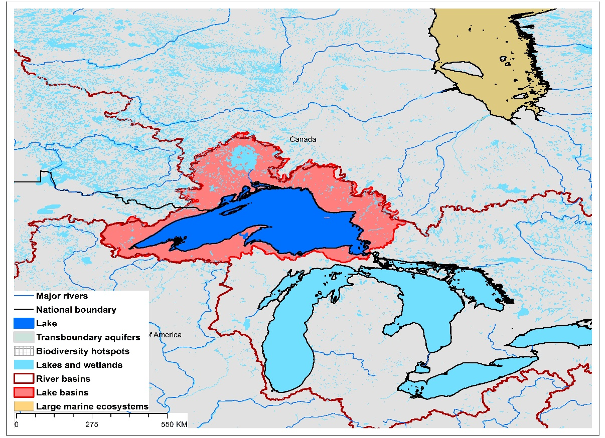 (a)Lake Superior basin and associated  transboundary water systems