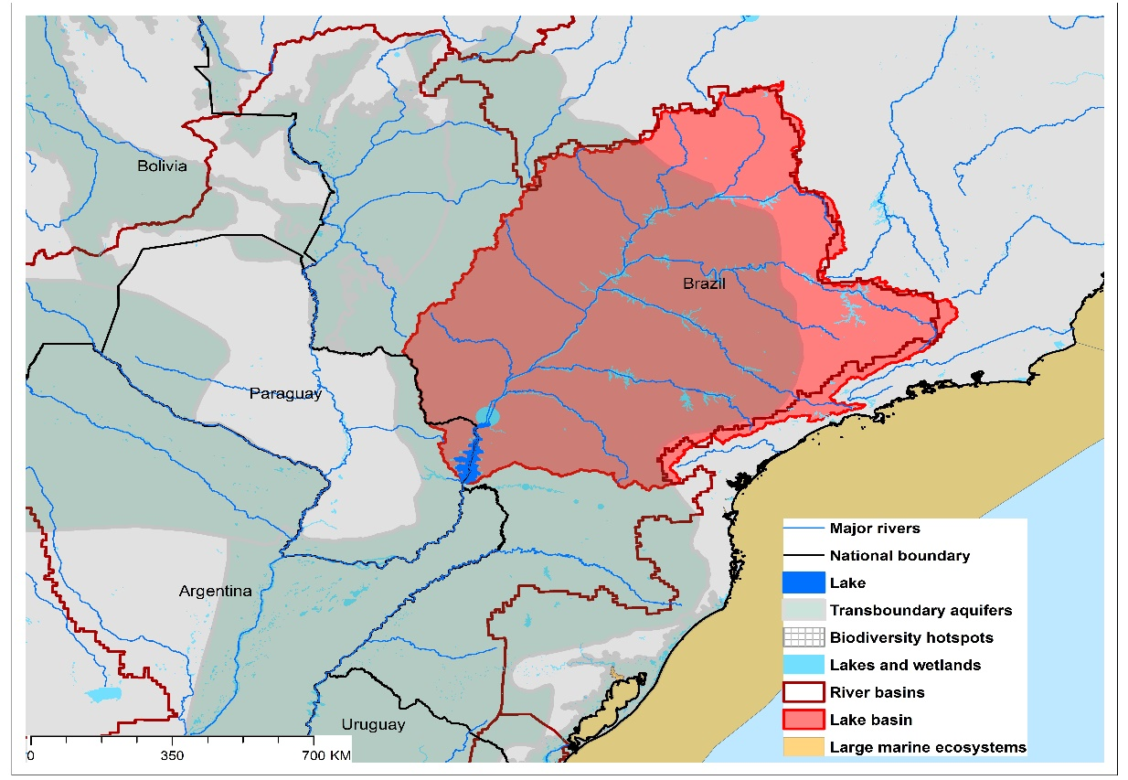 (a)Lake Itaipu basin and associated  transboundary water systems